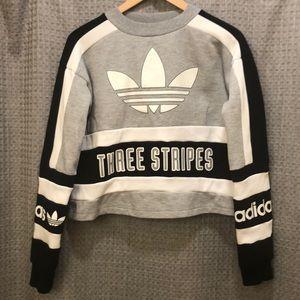 Adidas originals three stripes cropped sweatshirt